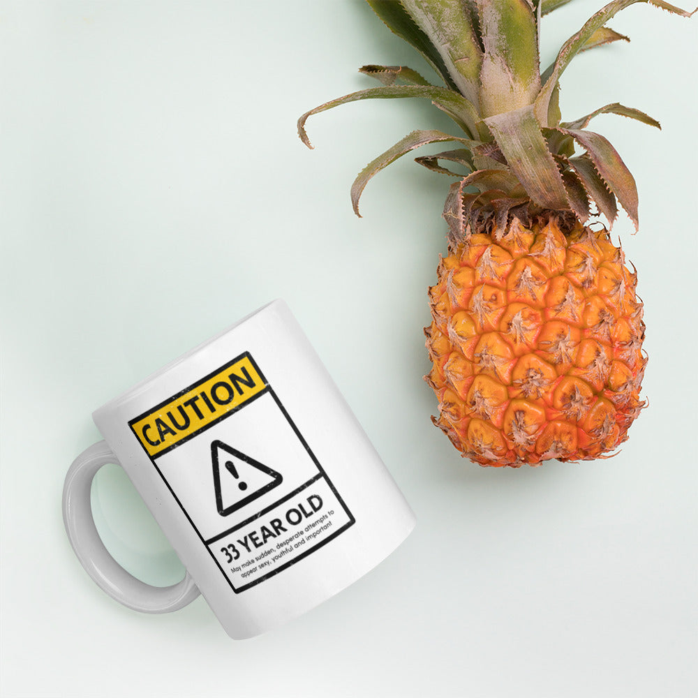 CAUTION 33 Year Old 33rd Birthday Mug - Gift Ideas - Familymily.com