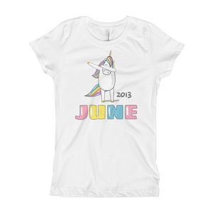 5th Birthday June T Shirt B Day 5 Year Old Dabbing Unicorn Girls