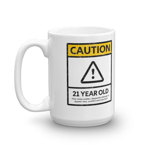 CAUTION 21 Year Old 21st Birthday Mug - Gift Ideas - Familymily.com