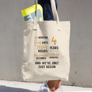 4 Year And We've Only Just Begun Couple Tote Bag - Gift For 4th Linen Wedding Anniversary