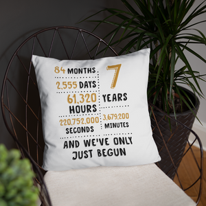 7 Year And We've Only Just Begun Couple Throw Pillow - Gift For 7th Wool Wedding Anniversary