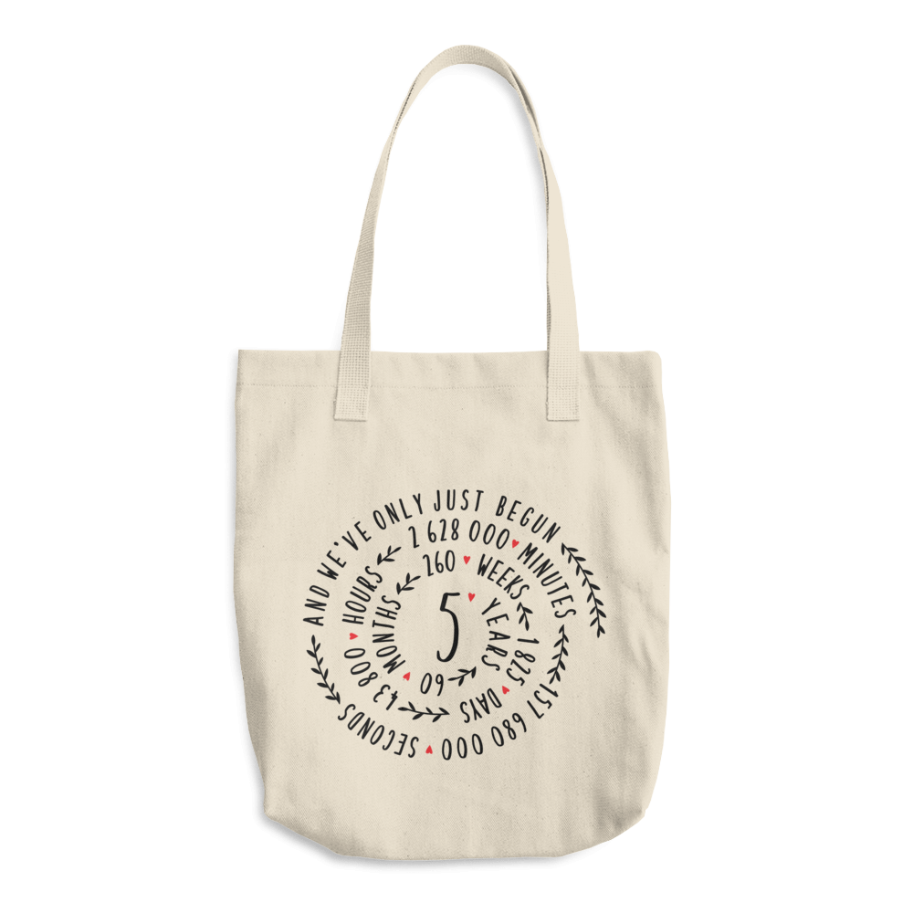 5 Year Of Marriage Couple Tote Bag - 5th Wedding Anniversary Spiral Design For Lovers