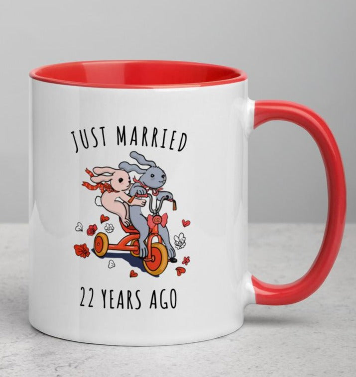 Copper Anniversary Gift Mug, 22nd Wedding Anniversary for Couples, 22W, Custom Year