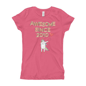 Awesome Since 2010 - Unicorn Ma Holding Heart Balloon - Golden Balloon Type - Girl's T-Shirt