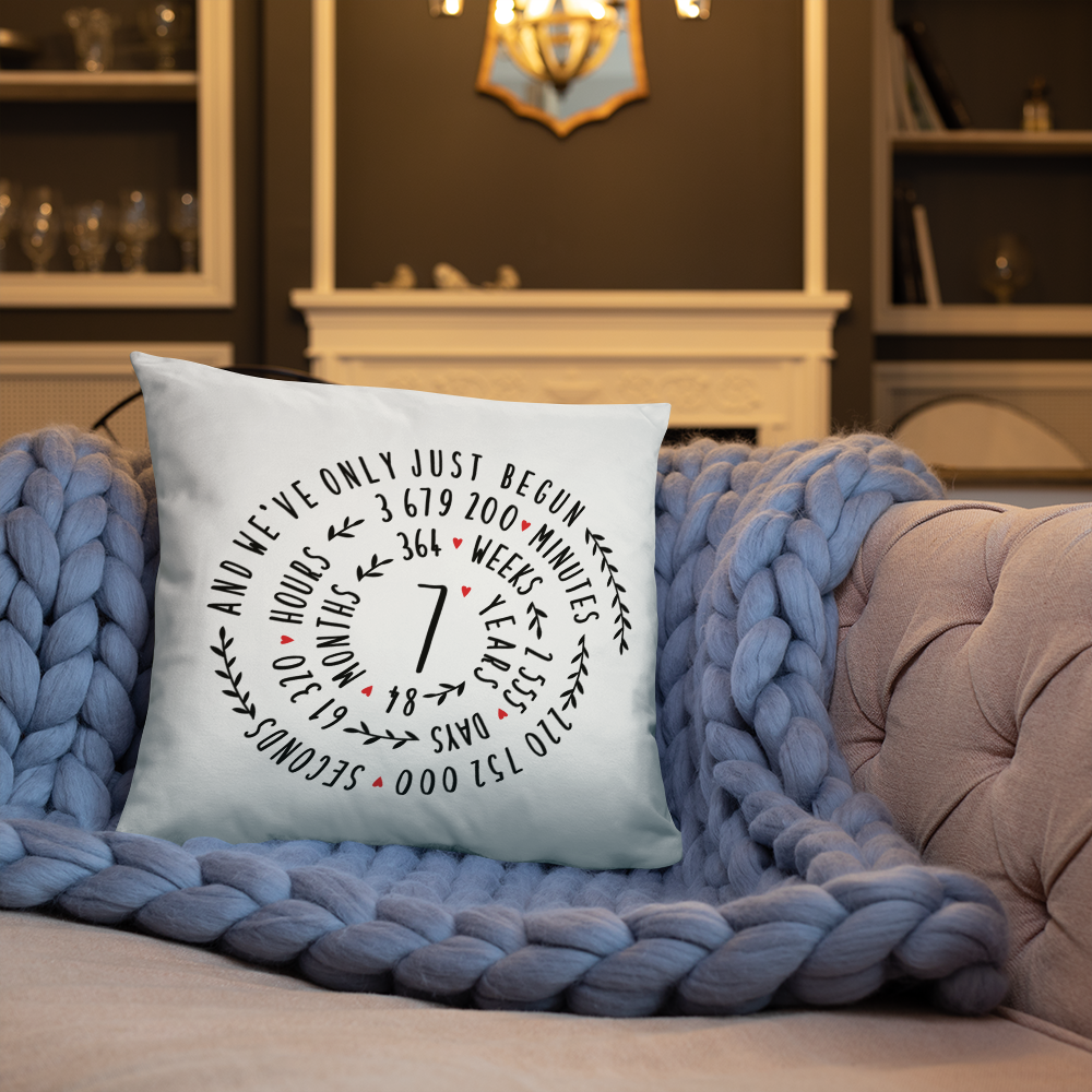 7 Year Of Marriage Couple Throw Pillow - 7th Wedding Anniversary Spiral Design For Lovers