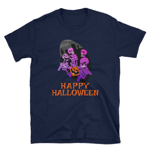 Happy Halloween - Four Scary Skeleton With Pumpkin Unisex Gift Tshirt - Gift Ideas - Familymily.com