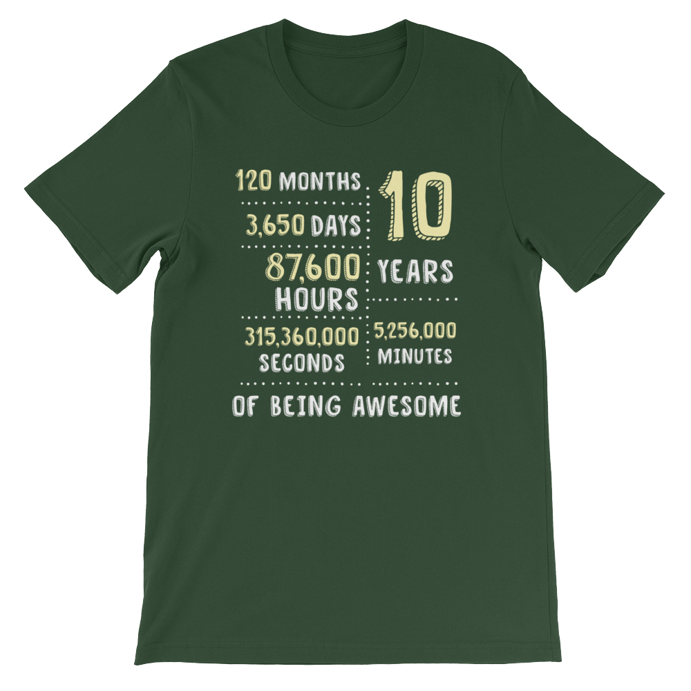 10 Years Of Being Awesome Unisex T-Shirt - Gifts For 10th Tin Wedding Anniversary - Gift Ideas - Familymily.com