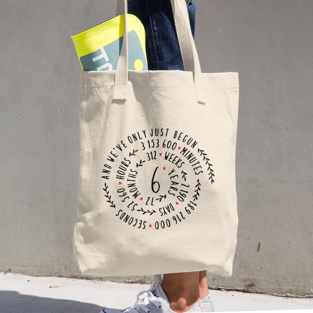 6 Year Of Marriage Couple Tote Bag - 6th Wedding Anniversary Spiral Design For Lovers