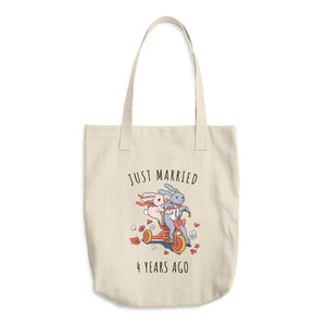 Just Married 4 Years Ago Couple Tote Bag - Gift For 4th Linen Wedding Anniversary