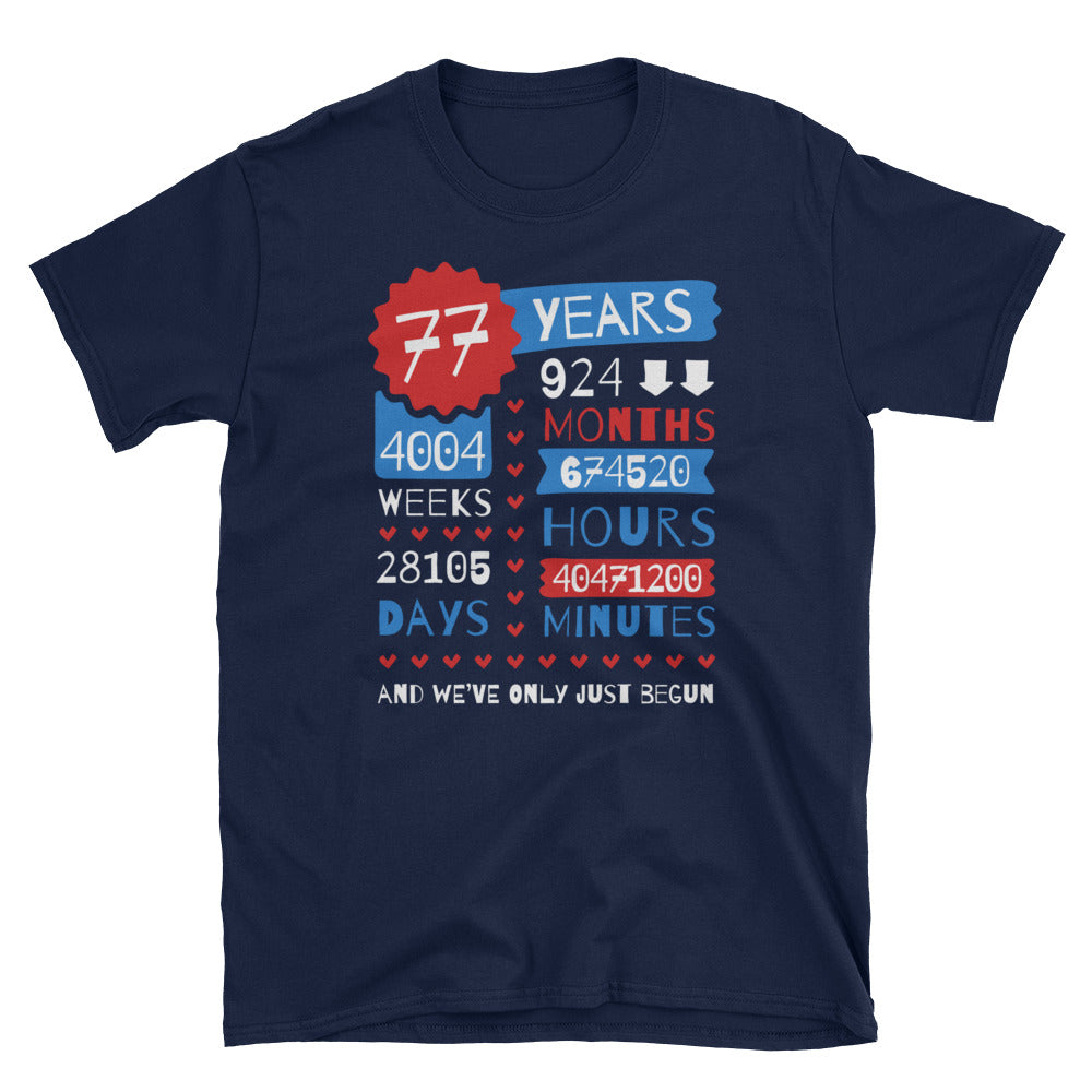77 Years Wedding Anniversary Unisex Gift T-Shirt - Gift Ideas - Familymily.com