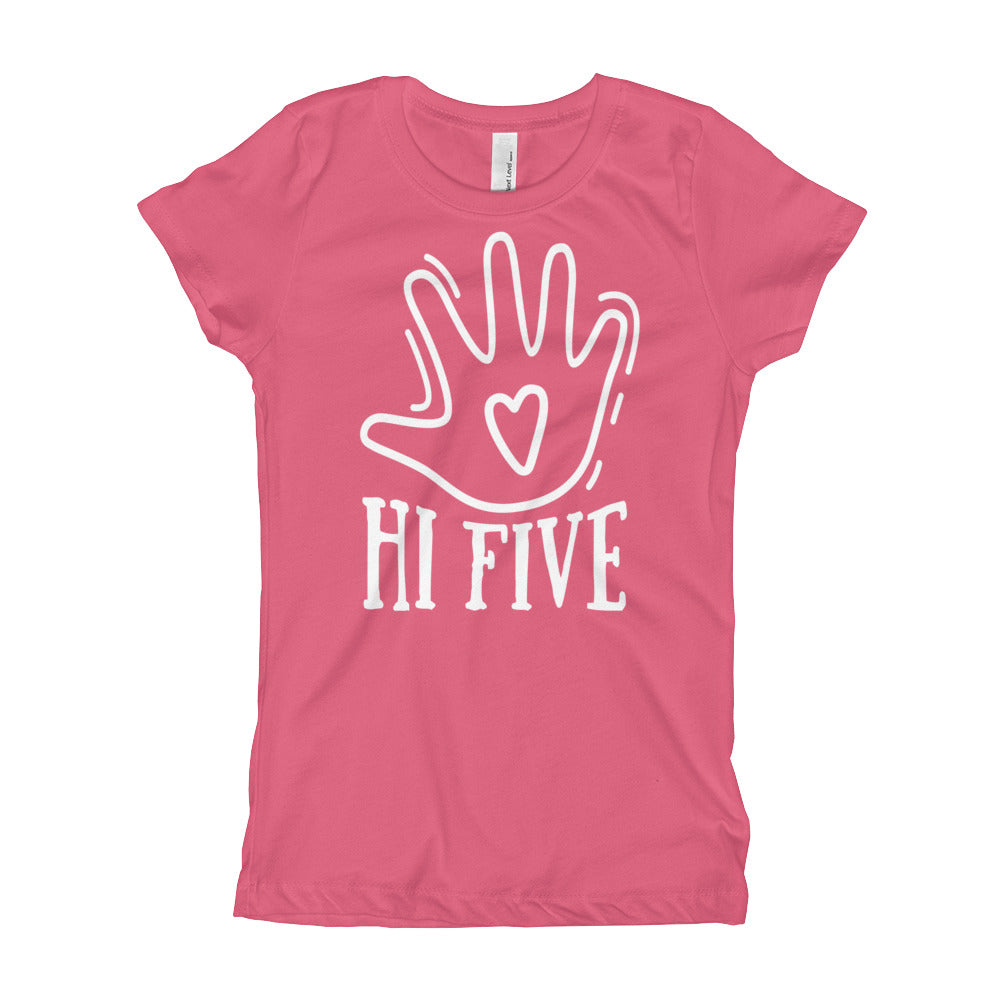 HI FIVE Girl's T-Shirt, Fifth Birthday Gift, Five Years Old Shirt, 5th Birthday - Birthday Shirt For Girls