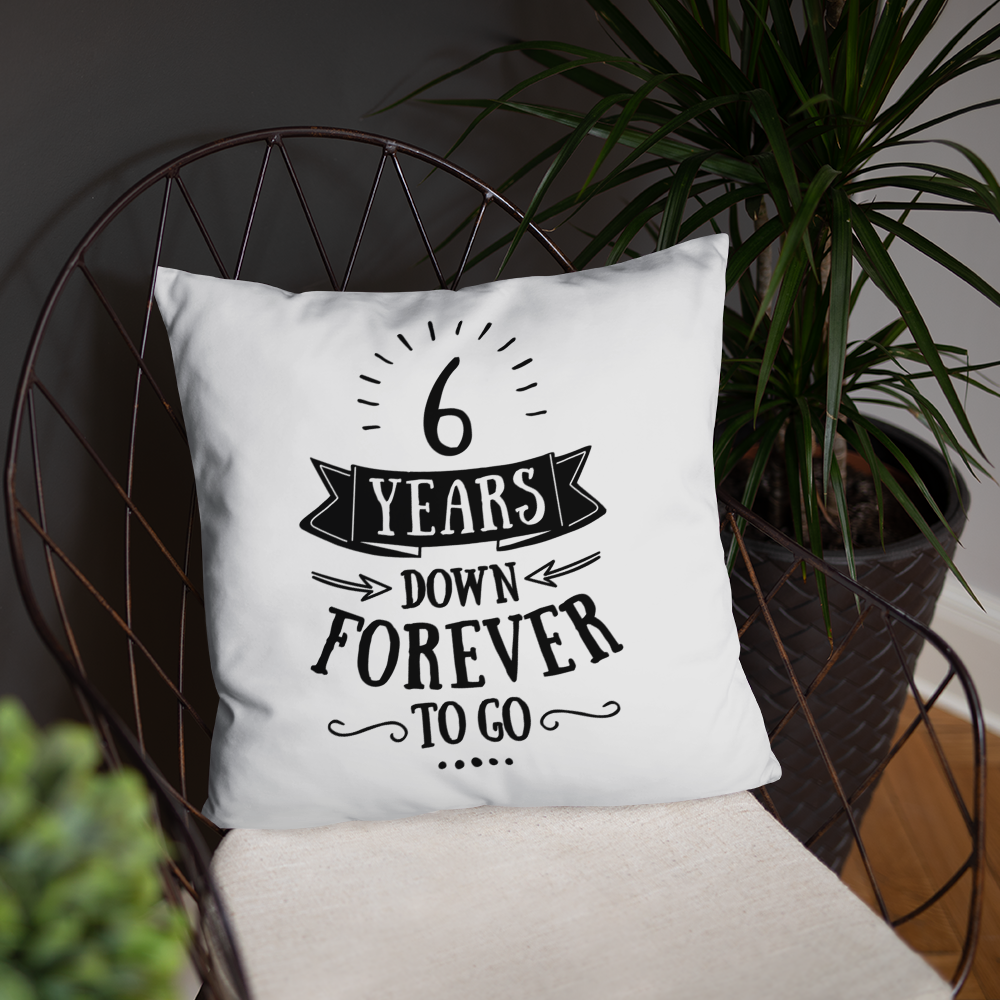 6 Years Down Forever To Go Couple Throw Pillow - 6th Iron Wedding Anniversary