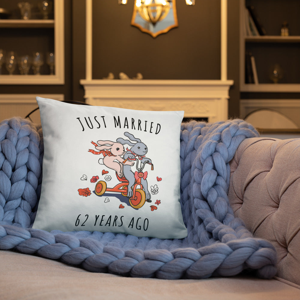 Just Married 62 Years Ago - Lovely 62nd Wedding Anniversary Couple Bunnies Basic Pillow Gift