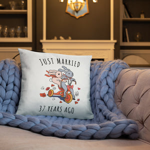 Just Married 37 Years Ago - Improbable Wedding Anniversary Couple Bunnies Basic Pillow Gift