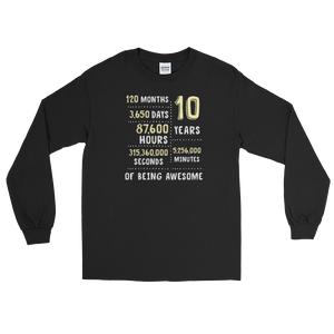 c607eed2a 10 Years Of Being Awesome Long Sleeve T-Shirt - Gifts For 10th Tin Wedding