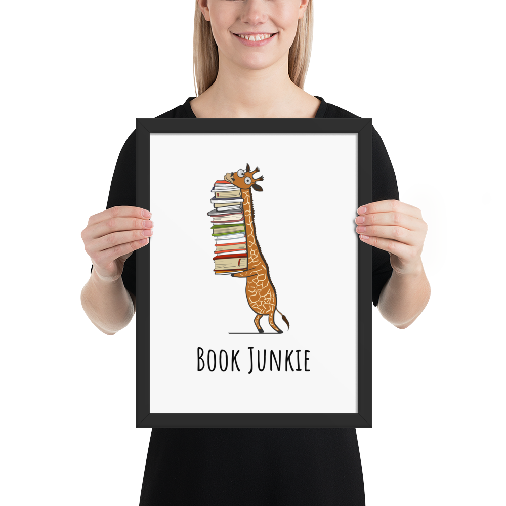 BOOK JUNKIE - Book Nerd Framed Poster Gift - Gift Ideas - Familymily.com