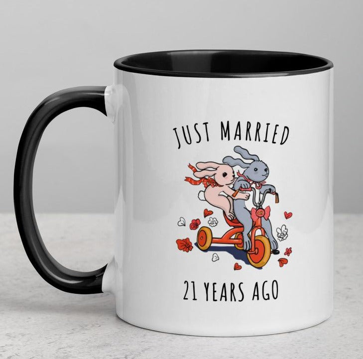 21 year anniversary gifts for him dating, Mug with Color, Custom Year