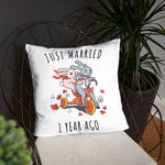 Just Married 1 Years Ago - Fabulous Paper Wedding Anniversary Couple Bunnies Basic Pillow Gift