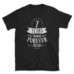 7 Years Down Forever To Go Couple T-shirt - 7th Wool Wedding Anniversary