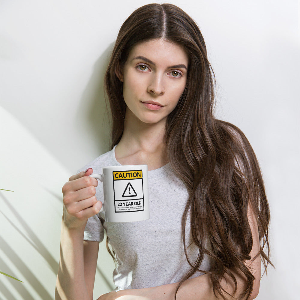 CAUTION 22 Year Old 22nd Birthday Mug - Gift Ideas - Familymily.com