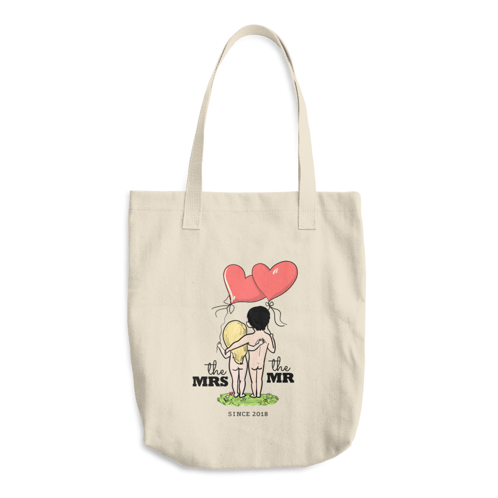 The Mrs and The Mr - Married in 2018 Funny Couple – Cotton Tote Bag for Her or Him