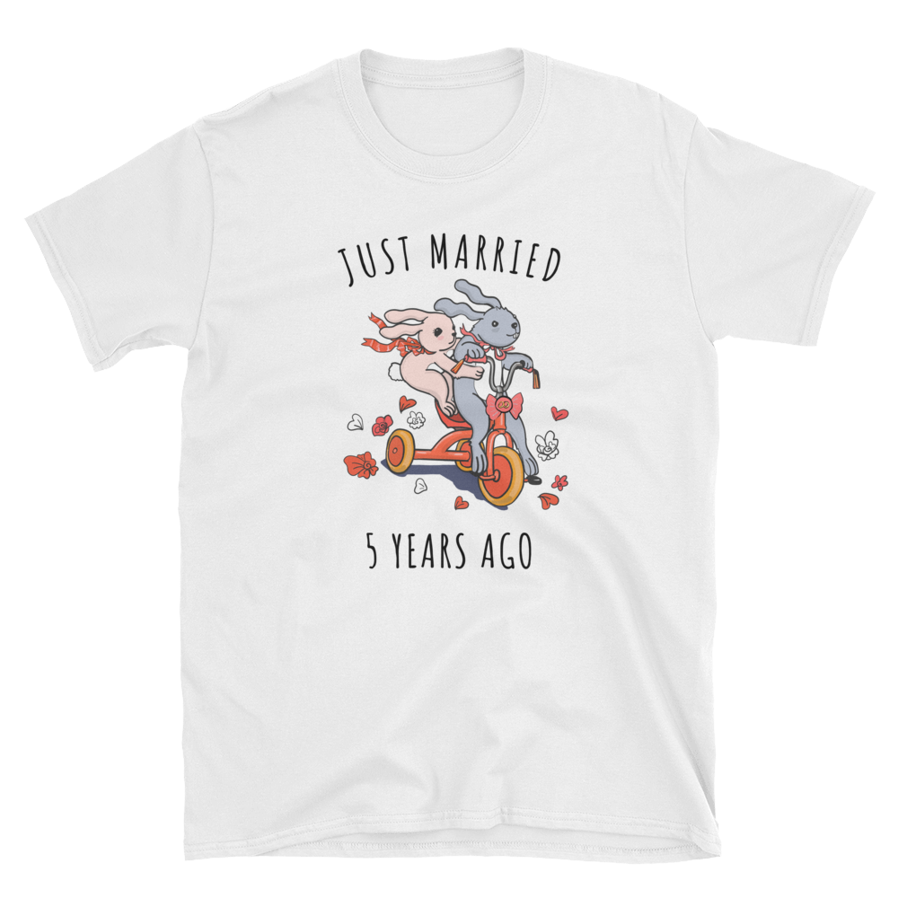 Just Married 5 Years Ago Couple Shirt - Gift For 5th Wood Wedding Anniversary
