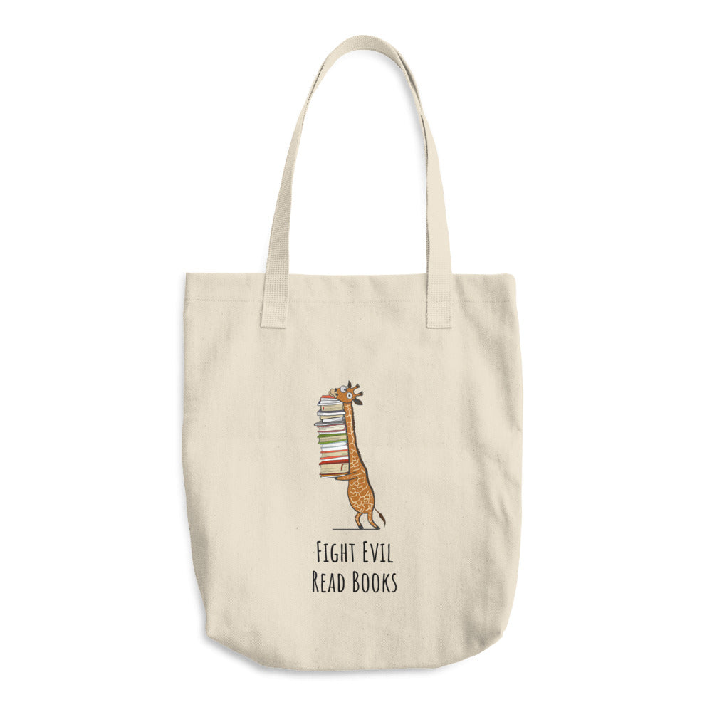 Fight Evil Read Books - Book Bug Cotton Tote Bag - Gift Ideas - Familymily.com