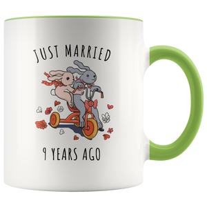 Just Married 9 Years Ago - 9th Wedding Anniversary Gift Accent Mug