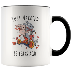 16th Wedding Anniversary.Just Married 16 Years Ago 16th Wedding Anniversary Gift Accent Mug
