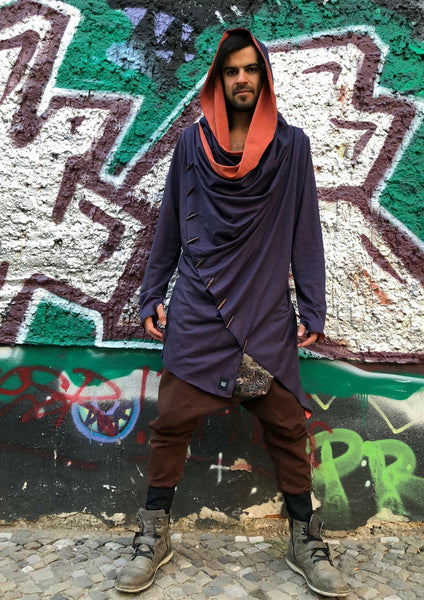 KENOBI Tiger Orange -  Jedi style cotton denim hoodie with wooden buttons