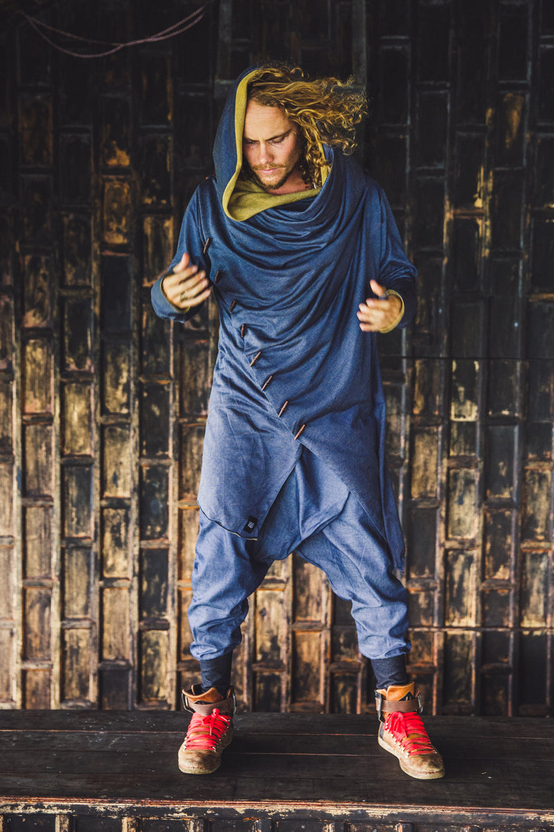 URBAN NINJA Blue / Bronze Gold - Elegant urban harem pants