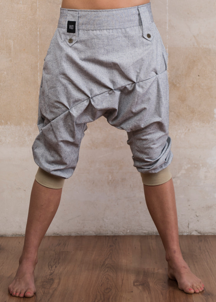 DUNE Silver Grey - Linen drop crotch capri harem shorts