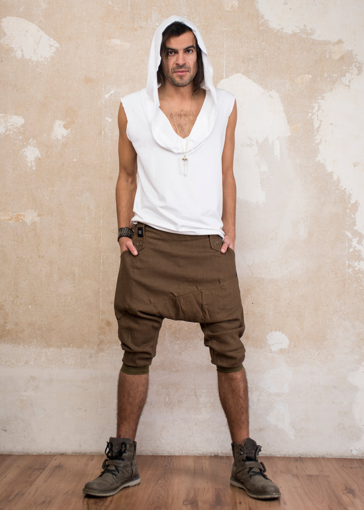 DUNE Brown - Linen drop crotch capri harem shorts