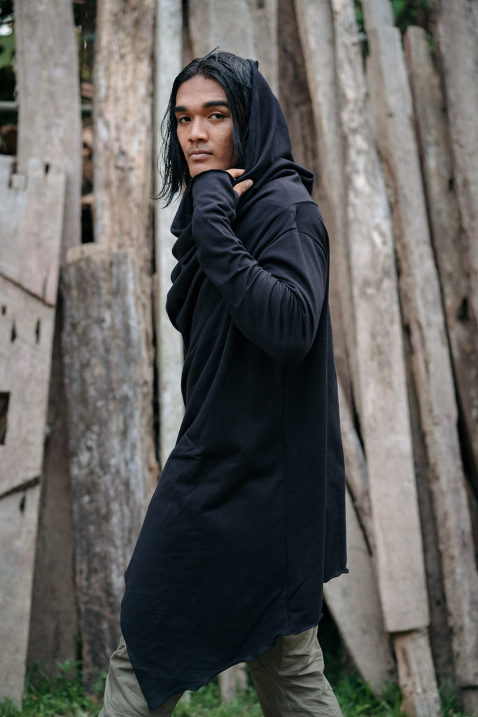KENOBI Obsidian Black - Jedi style cotton denim hoodie with wooden buttons