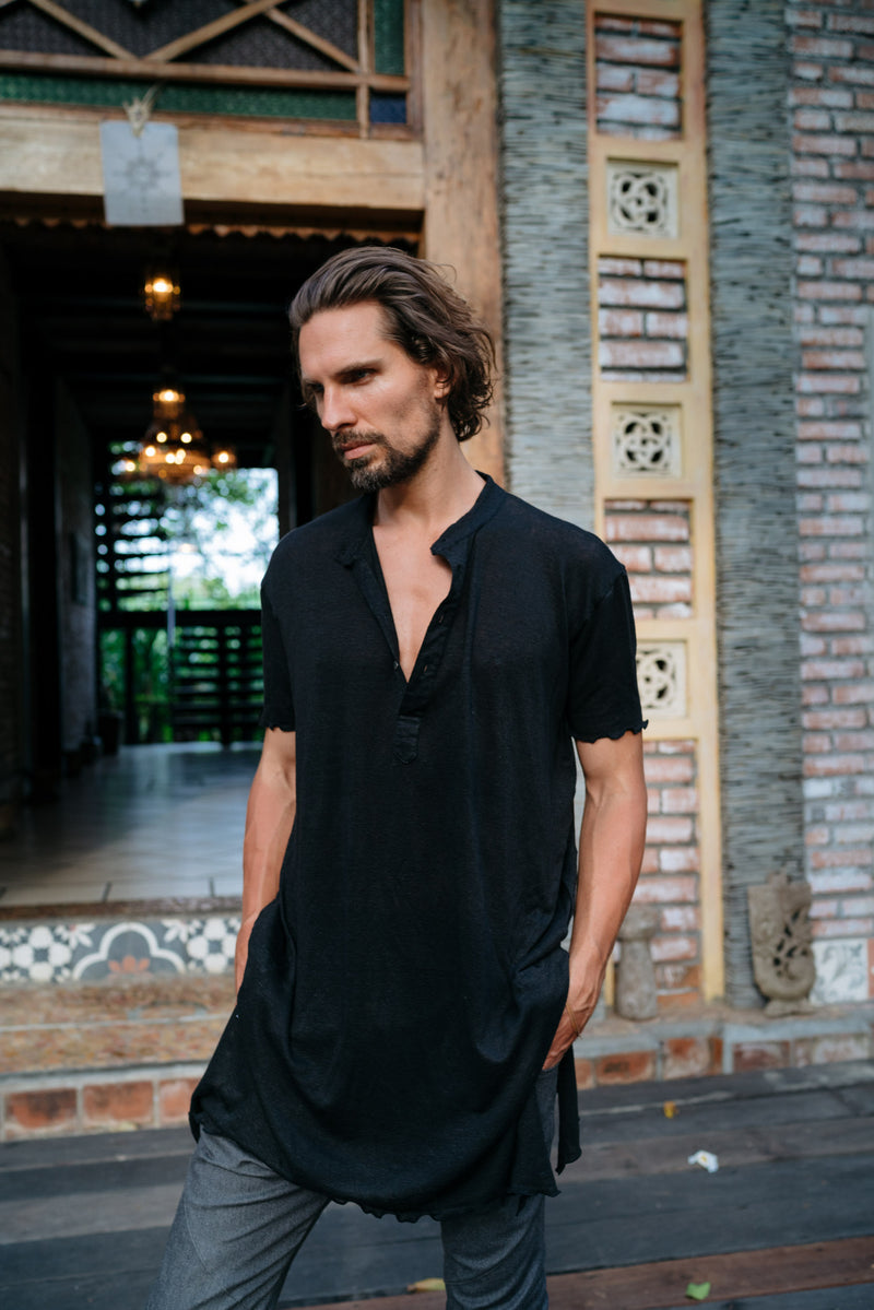 KURTAN - Bamboo oversize tee with top button up and asymmetric side cuts