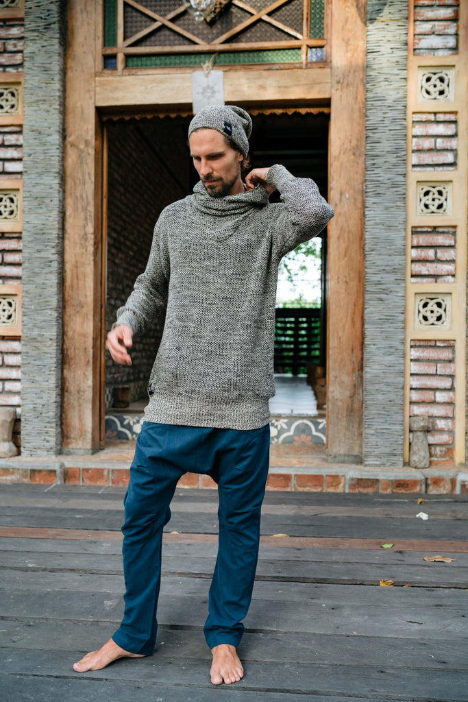 ILTA Knit Grey - Soft and stretchy cowl neck cotton hoodie