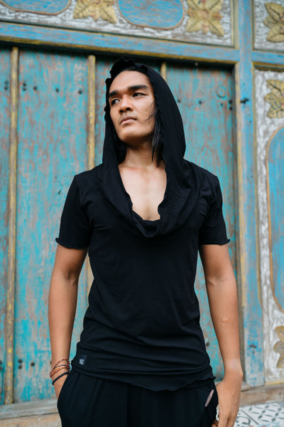 asymmetric t-shirt / hooded bamboo t-shirt / ninja assassin hoodie / unique hoodie