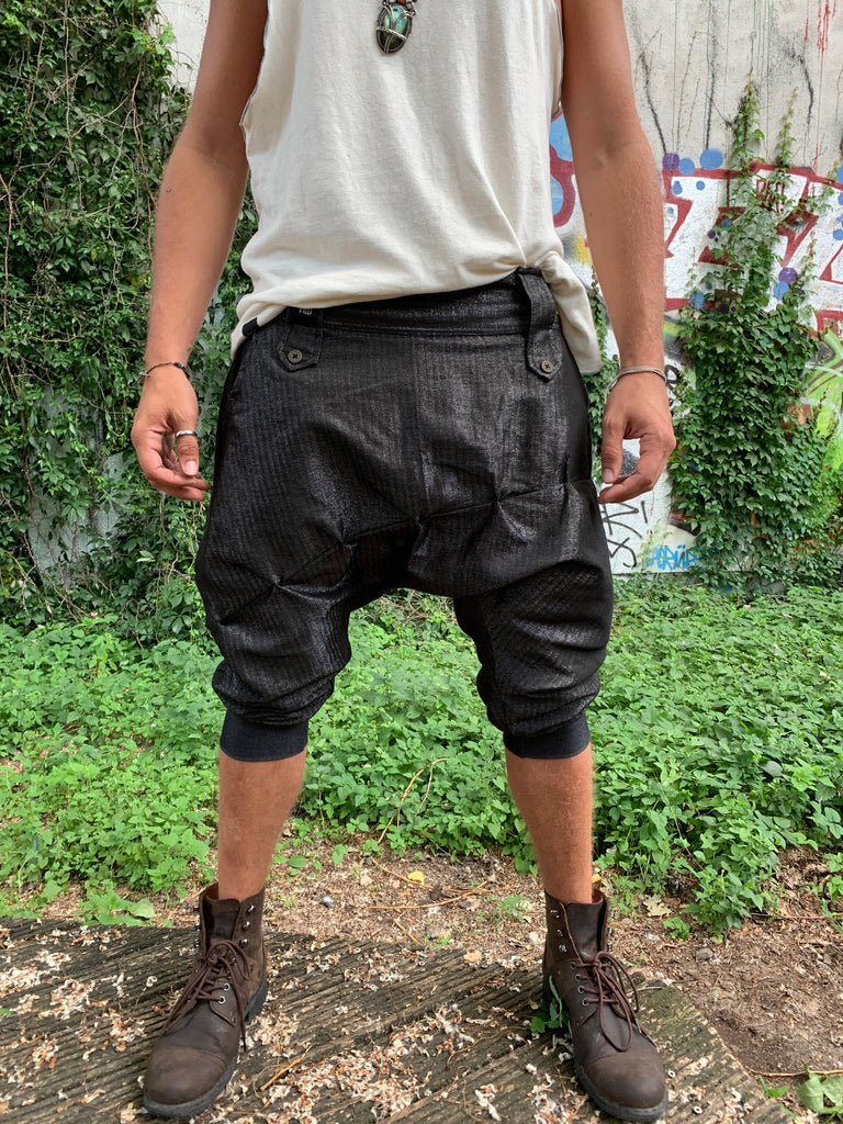 DUNE Black Linen - Drop crotch capri harem shorts