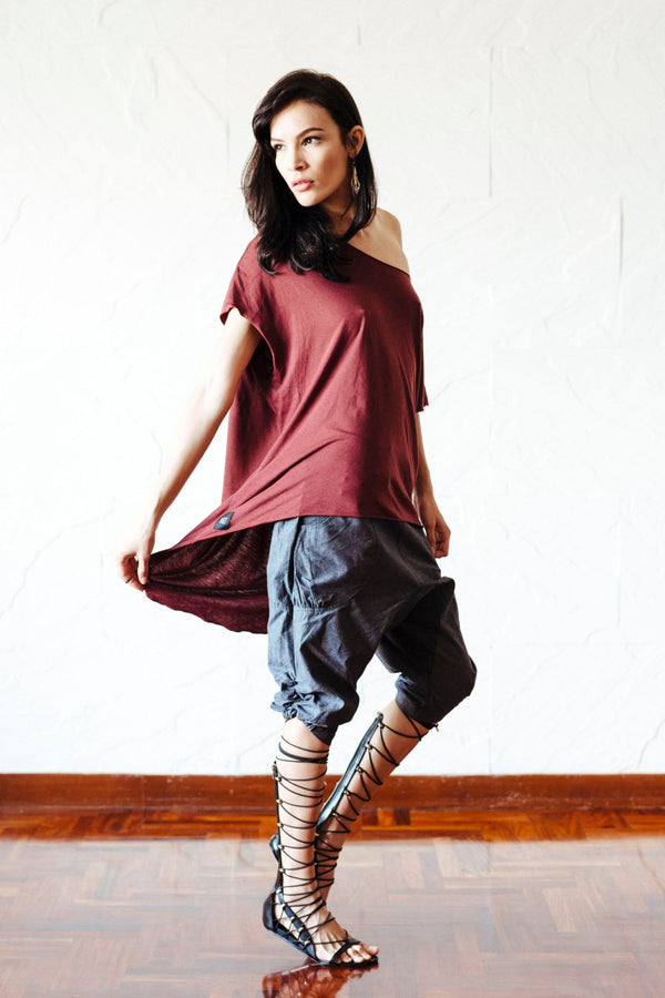 Oversize t-shirt men / asymmetric cut tee / unique bamboo-cotton t-shirt / oversize t-shirt women / black maroon oversize shirt