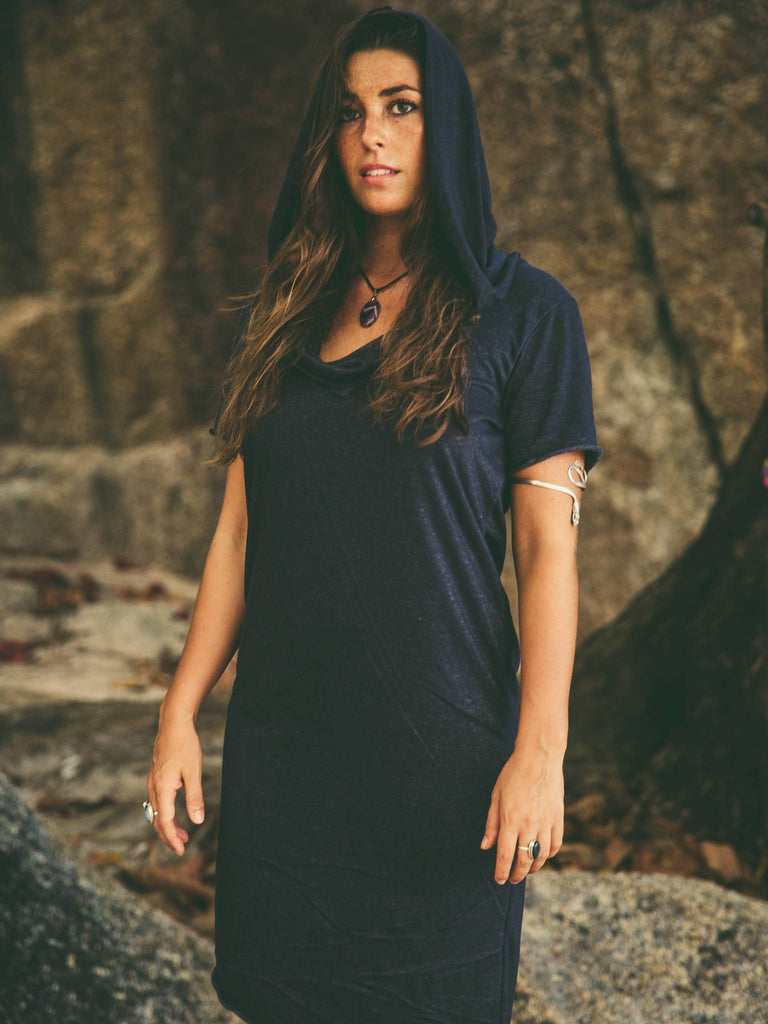 Hooded cotton dress / Diagonal cut dress / Bedouin style dress / Big hood long tee / Cotton designer dress / Comfortable hooded dress women