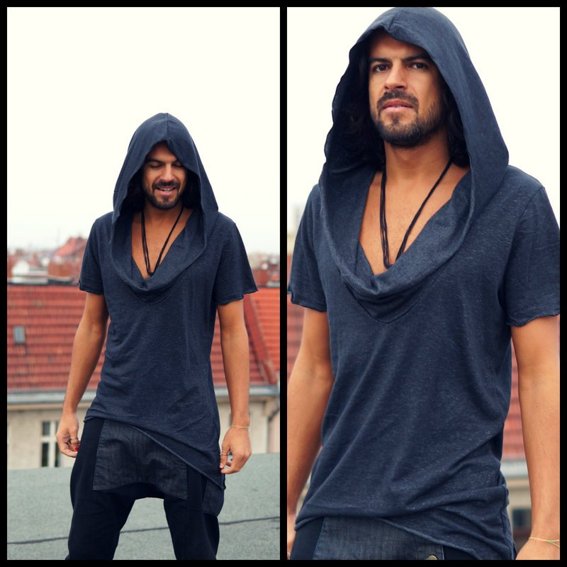 Premium hooded tee with diagonal cut, ultimate comfort, cotton, beduin look, big hood, VALO, nomad clothing, summer wear, urban wear, nomad
