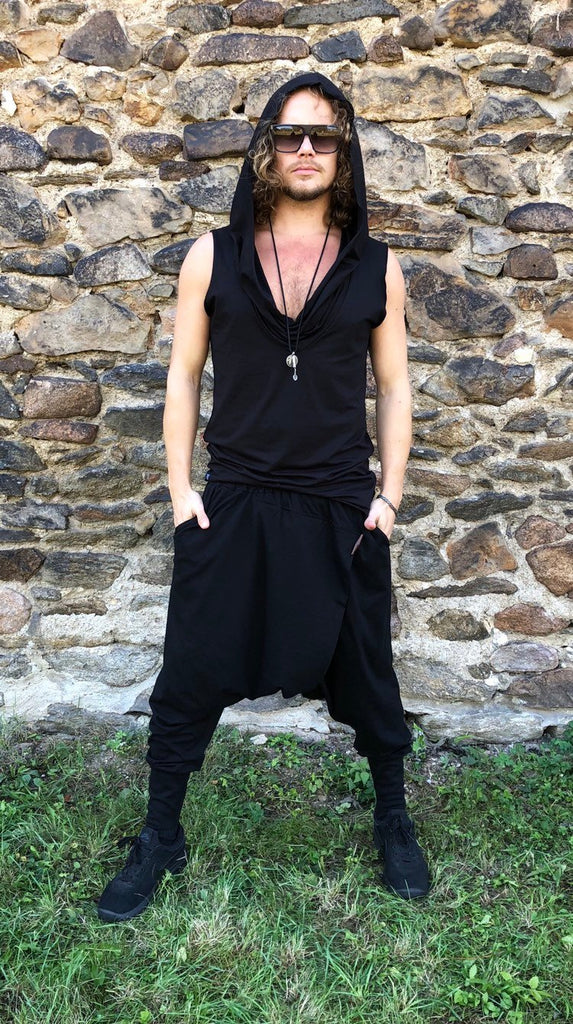 Low drop crotch ninja pants / baggy harem pants organic cotton / yoga pants women / harem pants men / harem pants women / yoga pants men