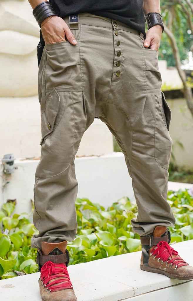 Drop Crotch pants, Drop Crotch Harem Pants, Low Crotch Pants, Drop Crotch Men, Drop Crotch Women, Handmade pants, Cotton Canvas, Green,Beige