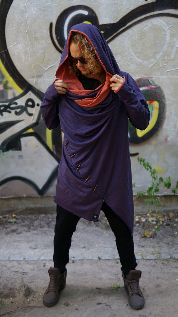 Tiger Orange Denim cotton hoodie / Jedi style cape hoodie / wooden buttons hoodie / fall wear / long hoodie / hoodie women / Playawear