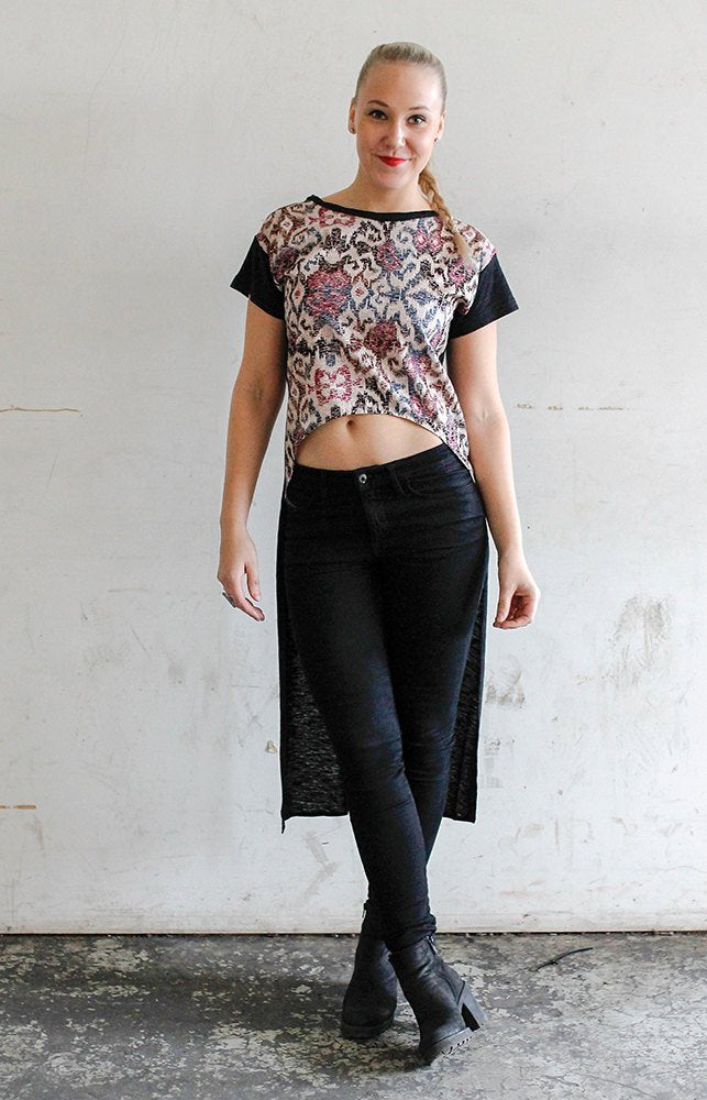 Women's maxxi top / tribal print top / bali fabric tee  / handmade cotton top / festival cropped maxxi top / cropped top women