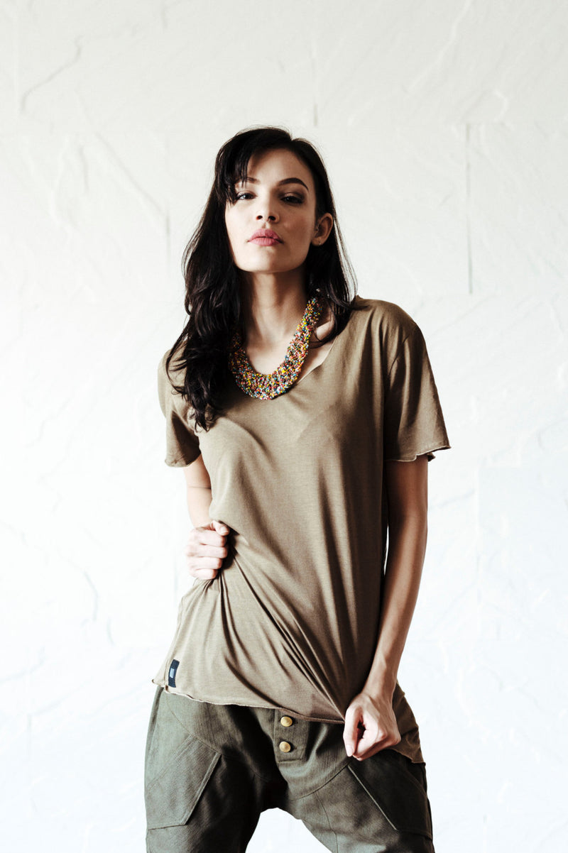 Unique open neck un-symmetric t-shirt / bamboo-cotton t-shirt men / bamboo cotton t-shirt women / stylish soft v-neck t-shirt