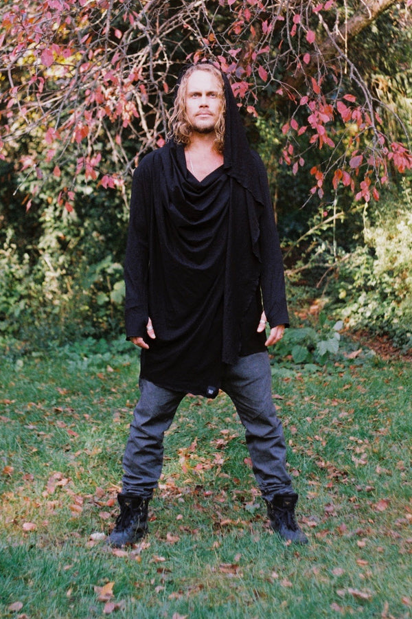 BLACK MOON - Long sleeve multi-use hooded cardigan cloak