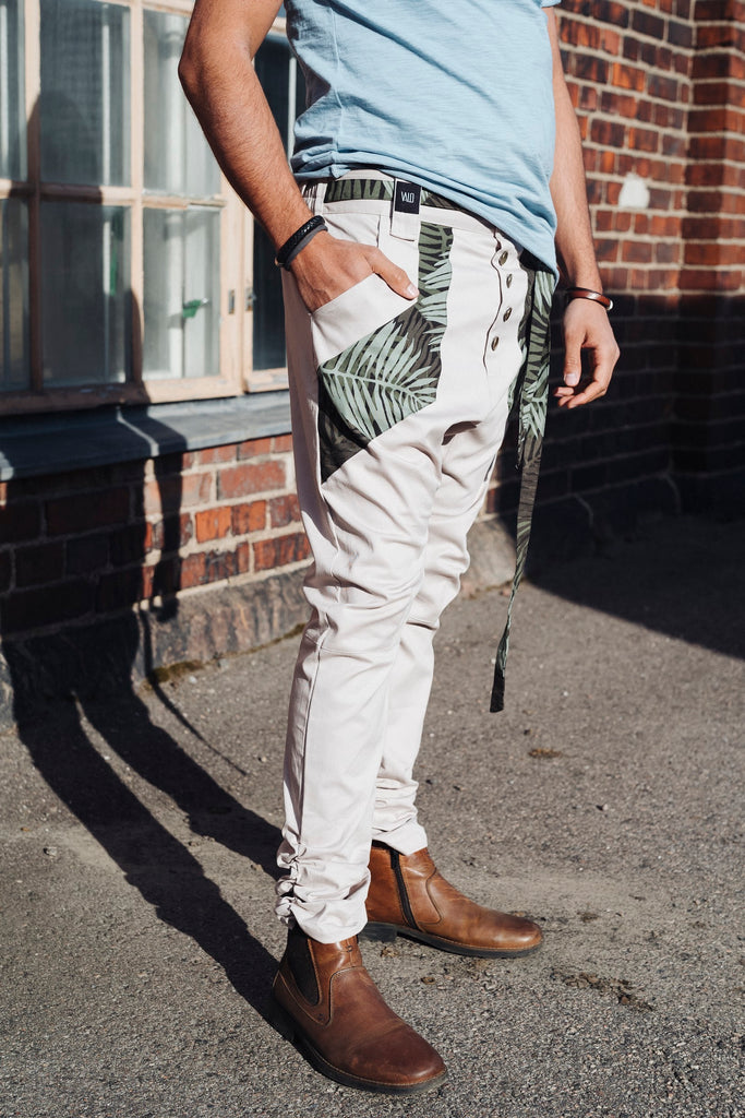 UNI - unique boho chic drop crotch trousers with slim leg and impressive details