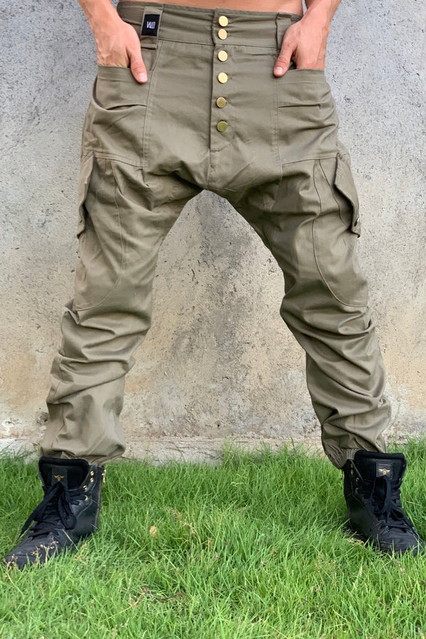 LUONTO - Cargo style baggy drop crotch harem pants