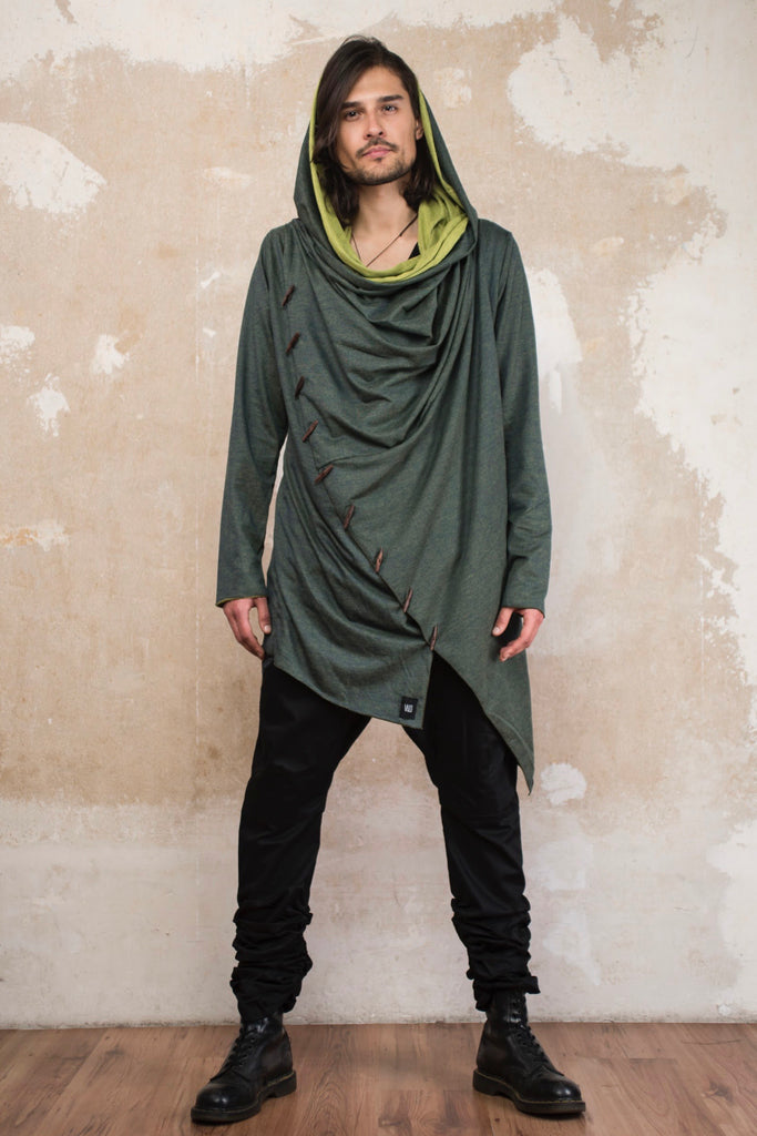 KENOBI Sage Green - Jedi style cotton hoodie with wooden buttons